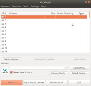 VeryCrypt Startbildschirm